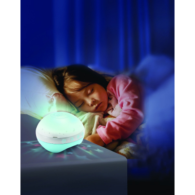 b kids projector blauw muziekmobiel kind in bed met lampje
