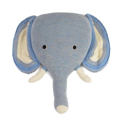 Anne Claire Petit dierenkop olifant blauw/grijs strepen