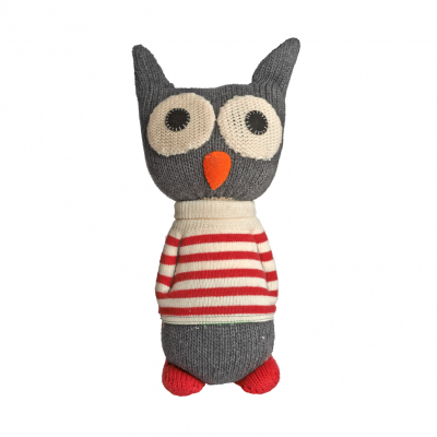 Anne Claire Petit knuffel uil Toon donkergrijs