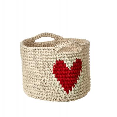 Anne Claire Petit mandje rond met handvat naturel/hart