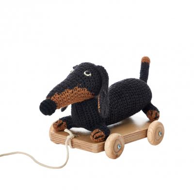 Anne Claire Petit trekkarretje dashond klein zwart/bruin