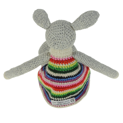 Knuffelkonijn met gestreept jurkje van Anne Claire Petit achterkant