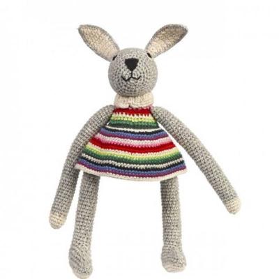Knuffelkonijn met gestreept jurkje van Anne Claire Petit