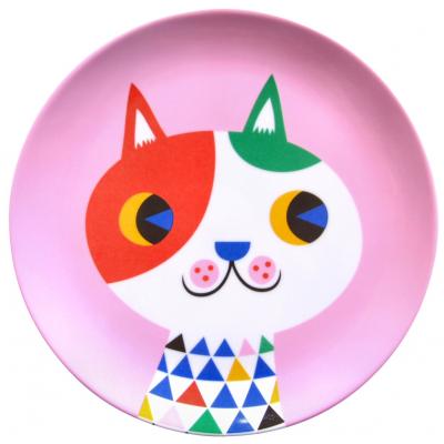 Petit Monkey melamine plate cat pink