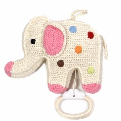 gehaakte olifant muziekdoosje met stippen van anne claire petit