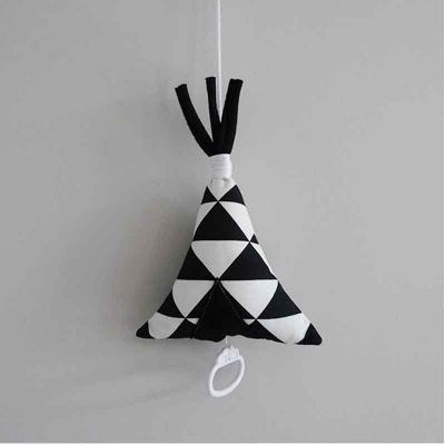 Muziekdoosje tipi triangel zwart wit