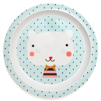 Petit Monkey Melamine plate bear drops blue border