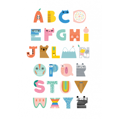 Petit Monkeys Poster ABC shaped characters 29.7 x 42 cm