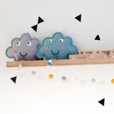 muziekdoosje blauw en grijs wolkje op plank essies