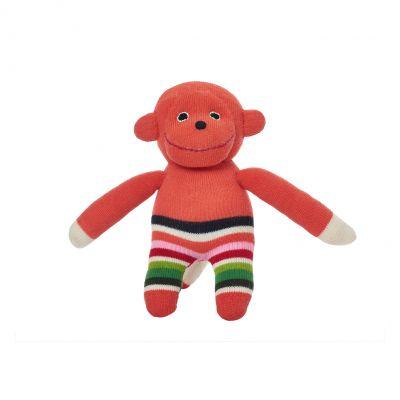 Anne Claire Petit zittende knuffel aap Paul multi gestreept