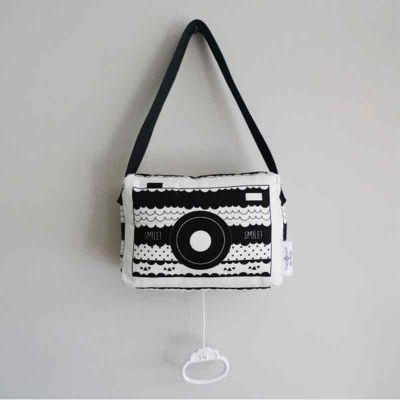 Muziekdoosje zwart wit hip fototoestel