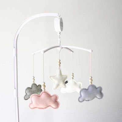 Muziekmobiel wolken grijs roze van Dodi for Kids