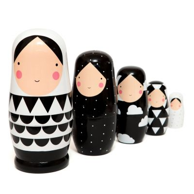 Petit monkey Nesting dolls black and white