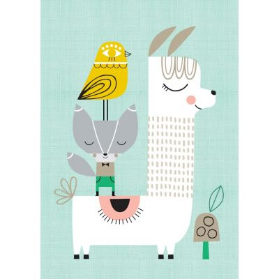 Petit Monkey Poster Lama and Friends 29.7 x 42 cm